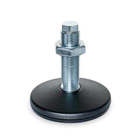 GN 36 Machine Feet, without Central Fastening Hole Type (Foot plate): B - With rubber underlay