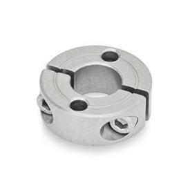 GN 7072.2 Split Stainless Steel-Shaft collars, with flange holes Type: A - with two through holes