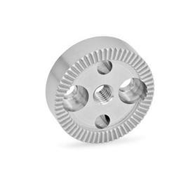GN 187.4 Rastscheiben, Edelstahl Form: A - mit Gewindebohrung d3 im Zentrum, mit zwei Senkbohrungen für Zylinderschrauben