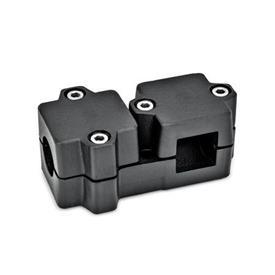 GN 194 Abrazaderas de conexión en ángulo, aluminio d<sub>1</sub> / s<sub>1</sub>: B - Orificio redondo<br />d<sub>2</sub> / s<sub>2</sub>: V - Orificio cuadrado<br />Acabado: SW - negro, RAL 9005, acabado texturado