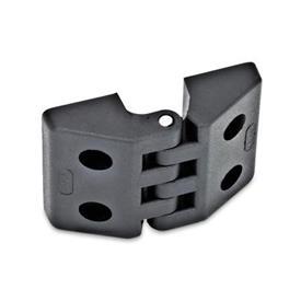 GN 155 Scharniere, Kunststoff Form: B - 2x2 Bohrungen für Zylinderschrauben