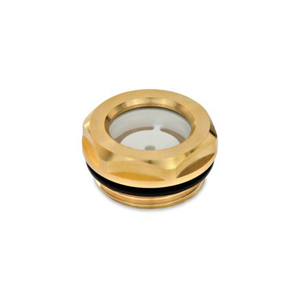 GN 743.2 Oil level sight glasses, Brass / Float glass Type: A - with reflector