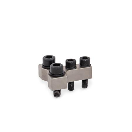 GN 868 Holders for Clamping Jaws for Power Clamps Type: R - Jaw block at right angle to clamping arm Finish: NC - Chemically nickel plated