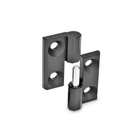 GN 337 Scharniere, aushängbar, Zink-Druckguss Werkstoff: ZD - Zink-Druckguss Oberfläche: SW - schwarz, RAL 9005, strukturmatt Kennziffer: 1 - festes Lager (Stift) rechts