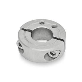 GN 7072.1 Split Stainless Steel-Shaft collars, with extension-tapped holes Type: B - Extension-tapped holes, axial