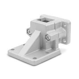 GN 171 Flanged Base Plate Connector Clamps, Aluminum d<sub>1</sub> / s: V - Square<br />Finish: BL - Plain, Matte shot-blasted