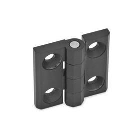 GN 237 Scharniere, Zink-Druckguss / Aluminium Werkstoff: ZD - Zink-Druckguss<br />Form: A - 2x2 Bohrungen für Senkschrauben<br />Oberfläche: SW - schwarz, RAL 9005, strukturmatt