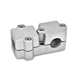 GN 194 T-Angle Connector Clamps, Aluminum d<sub>1</sub> / s<sub>1</sub>: V - Square<br />d<sub>2</sub> / s<sub>2</sub>: B - Bore<br />Finish: BL - Plain, Matte shot-blasted