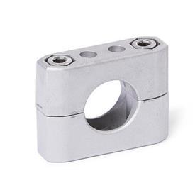 GN 231 Abrazaderas para tubos, aluminio d<sub>1</sub> / s<sub>1</sub>: B - Orificio redondo<br />Acabado: BL - natural, granallado mate