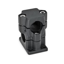 GN 141 Flanged two-way connector clamps, multi part assembly d<sub>1</sub> / s<sub>1</sub>: B - Bore<br />d<sub>2</sub> / s<sub>2</sub>: B - Bore<br />Finish: SW - black, RAL 9005, textured finish