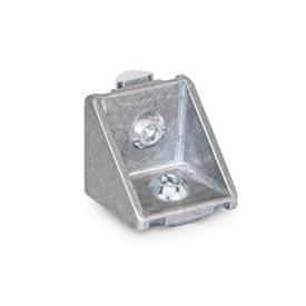 GN 961 Winkel für Profilsysteme 30 / 40, Aluminium Winkelform: C - mit Montageset, ohne Abdeckkappe<br />Oberfläche: MT - matt, gleitgeschliffen
