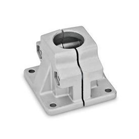 GN 165 Fuß-Klemmverbinder, Aluminium d<sub>1</sub> / s: B - Bohrung<br />Oberfläche: BL - blank, matt gestrahlt