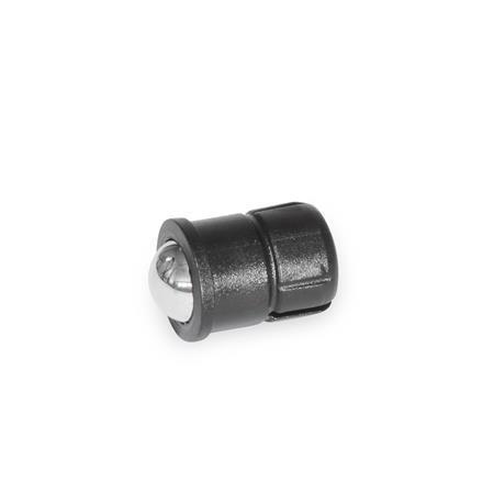 GN 614.5 Federnde Druckstücke, zum Einpressen, mit Kugel Werkstoff: KU - Hülse Kunststoff / Kugel Edelstahl