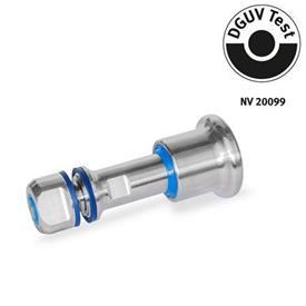 GN 8170 Doigts d'indexage en inox, conception hygiénique côté bouton et goupille (hygiène complète) Type: C - avec position de repos<br />Identification: VH - Conception hygiénique côté bouton et goupille (hygiène complète)