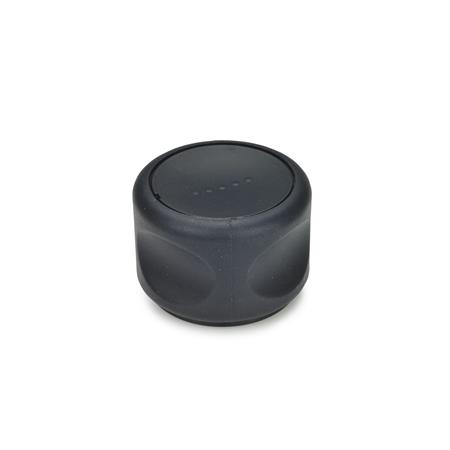 GN 624.5 Softline control knobs, plastic, bushing Stainless Steel Color of the cover cap: DSG - black-gray, RAL 7021, matte