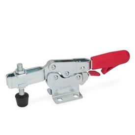 GN 820.3 Toggle clamps, operating lever horizontal, with safety hook, with horizontal mounting base Type: MLC - U-bar version, with two flanged washers and GN 708.1 spindle assembly
