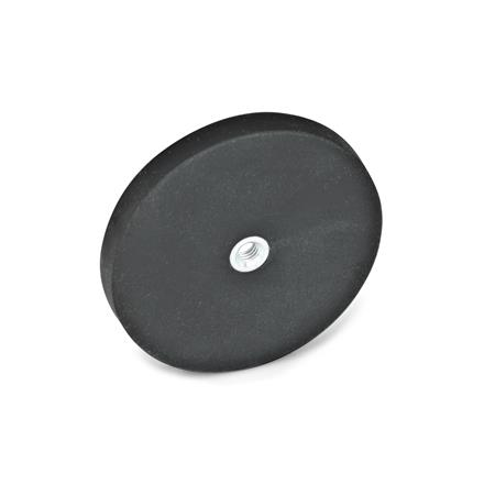 GN 51.5 Retaining magnets with female thread, with rubber jacket Color: SW - black