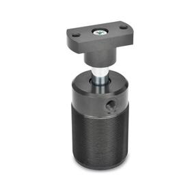 GN 876 Swing clamps, pneumatic, with screw-in thread Type: F - Adapter flange