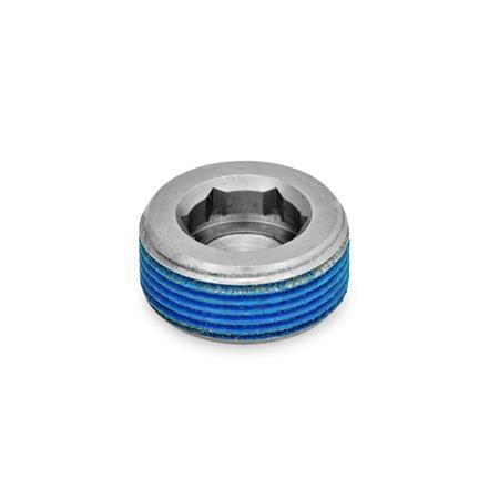 GN 252.5 Bouchons d'obturation en inox Type: PRB - avec revêtement de filetage (revêtement tout autour en polyamide)