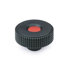 GN 534 Knurled knobs, Plastic, cover cap red