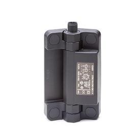 GN 239.6 Charnières inox avec contacteur de sécurité et connecteur, plastique Type: AS - Connecteur en haut