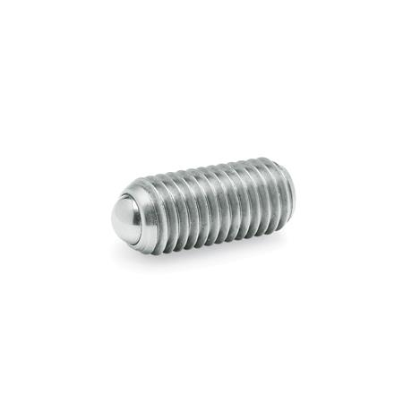 GN 615.3 Spring plungers with ball, with internal hexagon, Steel / Stainless Steel Type: KN - Stainless Steel, standard spring load