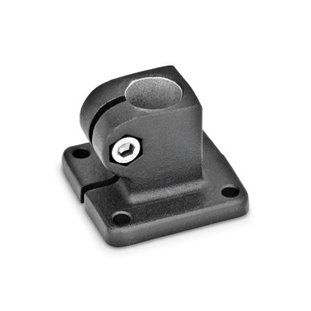 GN 162 Base plate connector clamps, Aluminum Finish: SW - black, RAL 9005, textured finish