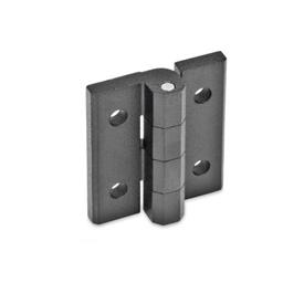 GN 235 Hinges, adjustable, Zinc die casting Material: ZD - Zinc die casting<br />Type: D - with through-holes <br />Finish: SW - black, RAL 9005, textured finish