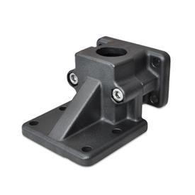 GN 171 Flanged base plate connector clamps, Aluminium Finish: SW - black, RAL 9005, textured finish