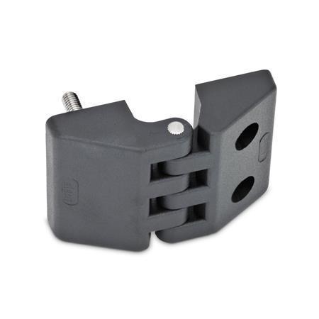 GN 155 Scharniere, Kunststoff Form: F - 2x Gewindestifte / 2x Bohrungen für Zylinderschrauben