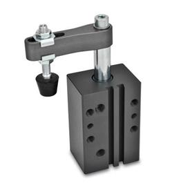 GN 875 Swing clamps, pneumatic, in block version Type: AC - Clamping arm with slotted hole, with two flanged washers and GN 708.1 spindle assembly