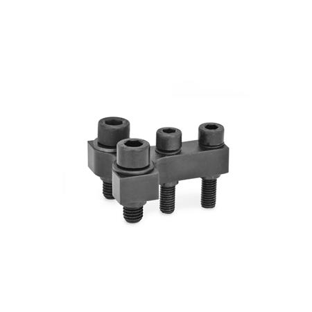 GN 868 T-coupling / double post coupling accessories for power clamps Type: R - Jaw block at right angle to clamping arm