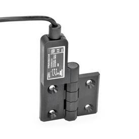 GN 239.4 Schaltscharniere mit Anschlusskabel Kennzeichen: SL - Bohrungen für Senkschraube, Schalter links<br />Form: AK - Anschlusskabel oben
