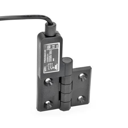 GN 239.4 Scharniere mit Anschlusskabel Kennzeichen: SL - Bohrungen für Senkschraube, Schalter links Form: AK - Anschlusskabel oben