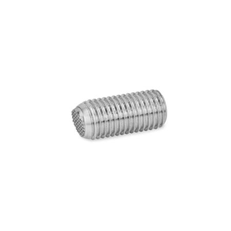 GN 605 Ball point screws, Stainless Steel Type: VRN - flat ball, with swivel limiting stop, corrugated