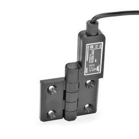 GN 239.4 Schaltscharniere mit Anschlusskabel Kennzeichen: SR - Bohrungen für Senkschraube, Schalter rechts<br />Form: AK - Anschlusskabel oben