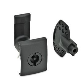 GN 115.5 Verriegelungen für Snap-in-Montage Form: VDE - Betätigung mit Doppelbart<br />Oberfläche: SW - schwarz, RAL 9005, strukturmatt<br />Kennziffer: 2 - Verschlussgehäuse mit rechteckigem Anschlag