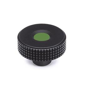 GN 534 Kordelgriffe, Kunststoff, Abdeckkappe farbig Farbe Abdeckkappe: DGN - grün, RAL 6017, matt