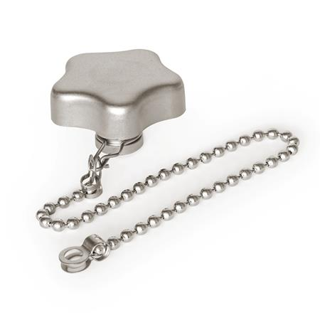 GN 5334.13 Stainless Steel-Star knobs with loss protection with bushing Type: K - with ball chain