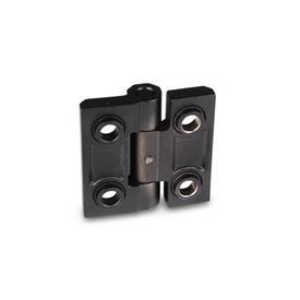 GN 237.3 Edelstahl-Schwerlastscharniere Werkstoff: NI - Edelstahl<br />Form: B - mit Bohrungen für Senkschrauben und Zentrieransätzen<br />Oberfläche: SW - schwarz, RAL 9005, strukturmatt