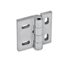 GN 235 Hinges, adjustable, Zinc die casting Material: ZD - Zinc die casting<br />Type: HB - vertical and/or horizontal adjustable<br />Finish: SR - silver, RAL 9006, textured finish