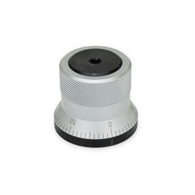 GN 200 Arretierelemente, Stahl Form: AS - Drehknopf, mattverchromt, mit Skala 0...50, 60 Teilstriche