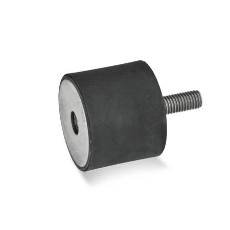 GN 451 Rubber buffers, Stainless Steel Type: ES - with female thread / threaded stud