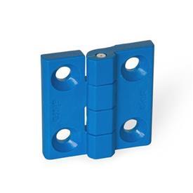 GN 237.1 Scharniere, detektierbar, FDA-konformer Kunststoff Form: A - 2x2 Bohrungen für Senkschrauben<br />Werkstoff / Oberfläche: VDB - visuell detektierbar