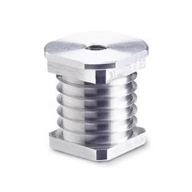 GN 992 Insert bushings, Aluminum Outside-Ø: V - for tube, square