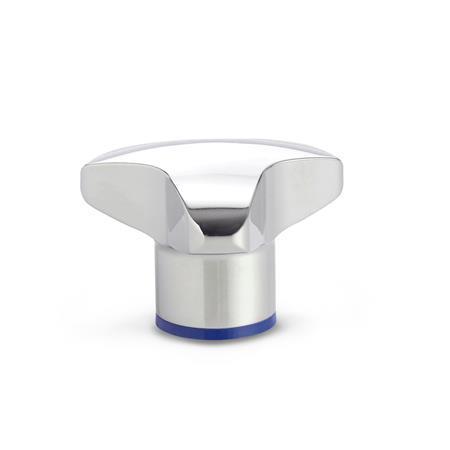 GN 5445 Pomos trilobulados de acero inoxidable, diseño higiénico Acabado: PL - pulido (Ra < 0,8 µm) Material (anillo de sellado): H - Caucho butadieno acrilonitrilo hidrogenado