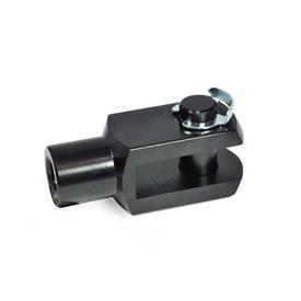 GN 751 Gabelgelenke, Aluminium Werkstoff: AL - Aluminium<br />Form: KL - Bolzen mit KL-Wellensicherung