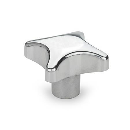 DIN 6335 Pomos en cruz, aluminio Tipo: E - con orificio ciego roscado Acabado: PL - pulido