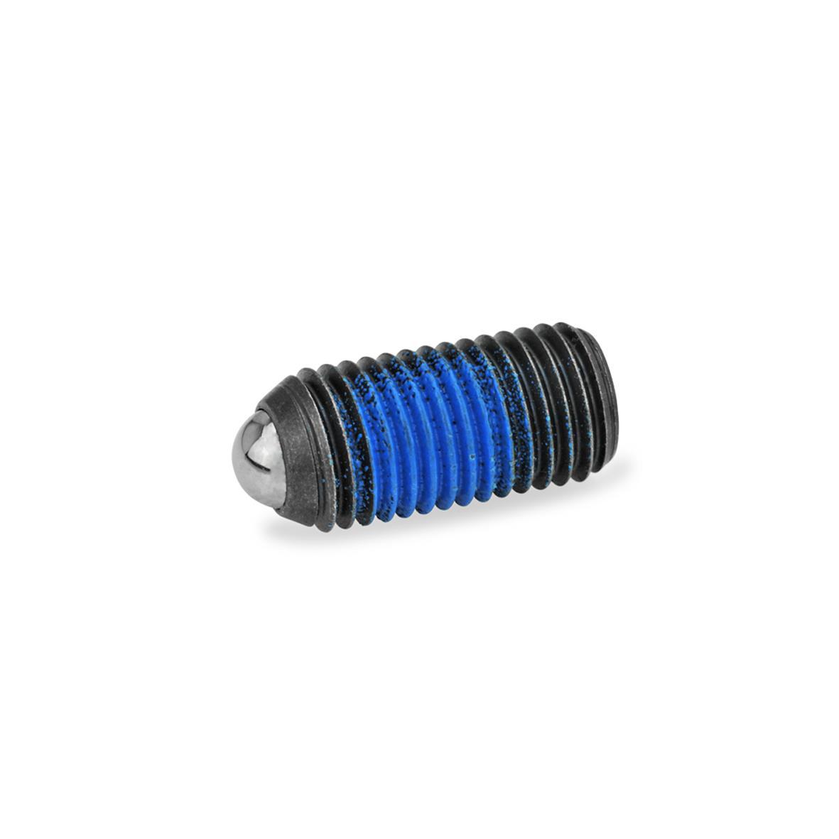 GN 615.3 Poussoirs à ressort avec verrouillage de filetage, acier/inox Type: K - Acier, ressort à charge standard Verrouillage de filetage: PFB - Patch polyamide