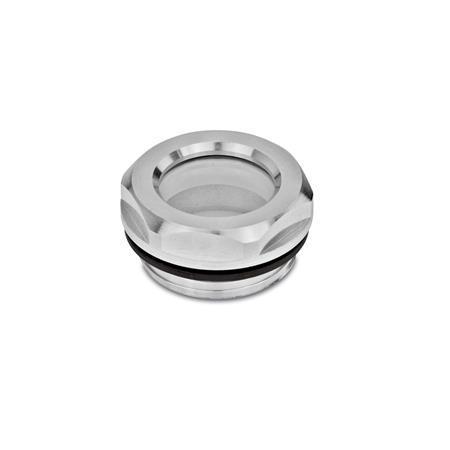 GN 743.1 Ölschaugläser, Aluminium / ESG-Glas, beständig bis 180 °C, blank Form: B - ohne Reflektor, blank